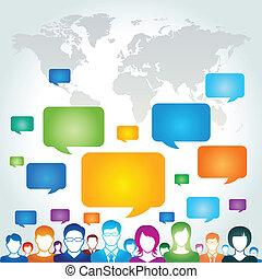 comunicación global, red, concep
