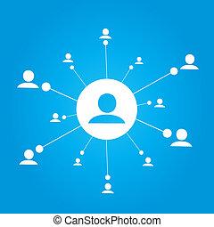 comunicación, grupo, gente