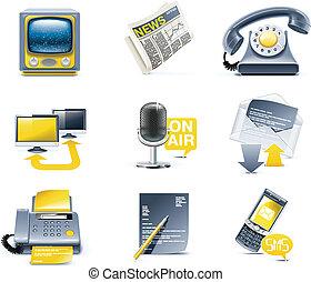 comunicación, icon., vector, medios