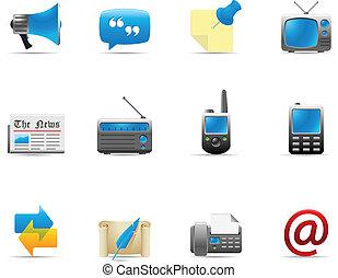 comunicación, iconos, 2, -, tela