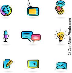 comunicación, iconos, 3