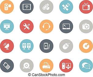 comunicación, iconos, clásico, serie