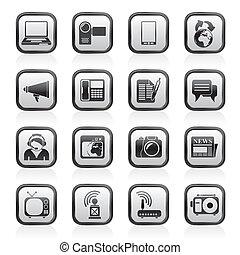 comunicación, iconos de tecnología