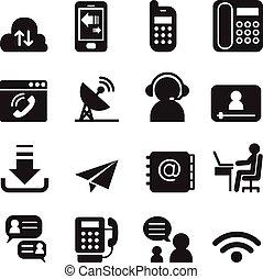 comunicación, iconos de tecnología, conjunto, 2