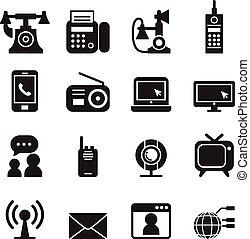 comunicación, iconos de tecnología, conjunto, vector