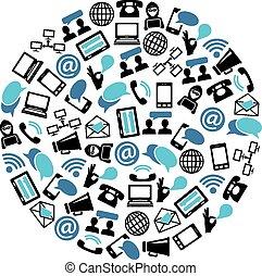 comunicación, iconos, en, círculo