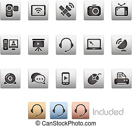 comunicación, iconos, --, metalbox