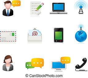 comunicación, iconos, -, tela