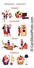 comunicación, introvertido, extrovertido, comportamiento, ...