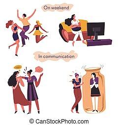 comunicación, introvertido, fines de semana, extrovertido, ...