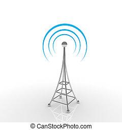 comunicación móvil, concepto, antena.