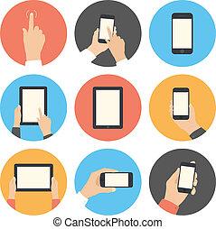 comunicación móvil, conjunto, plano, iconos
