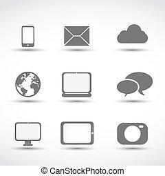 comunicación, medios, iconos