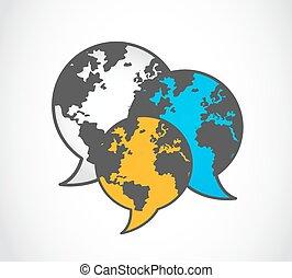 comunicación, mundo, logotipo, vector