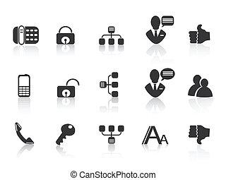 comunicación, negro, iconos