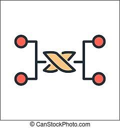 comunicación, nodo, icono, color