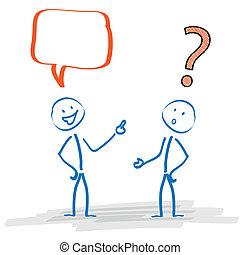 comunicación, problema, stickman