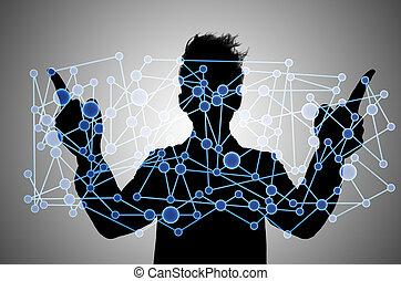 comunicación, puntos, de conexión, concepto, hombre de ...