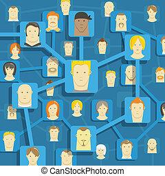 comunicación, resumen, moderno, esquema, gente