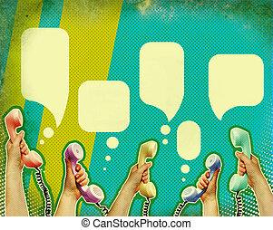 comunicación, retro, plano de fondo, cartel, telephons, ...