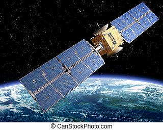 comunicación, satélite
