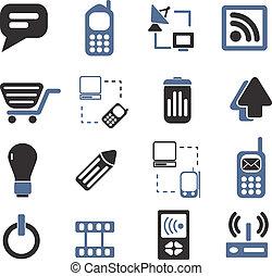 comunicación, señales, conjunto