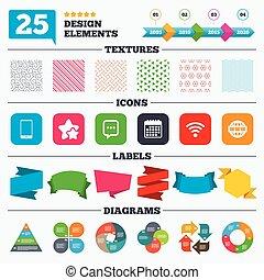 comunicación, smartphone, charla, icons., bubble.