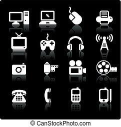 comunicación, tecnología, elementos, diseño