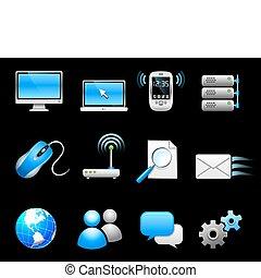 comunicación, tecnología, icono, colección