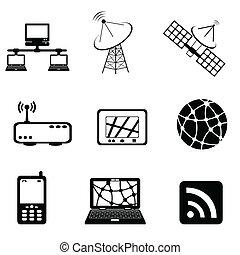 comunicación, y, icono de la computadora, conjunto