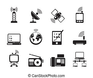 comunicación, y, iconos de tecnología
