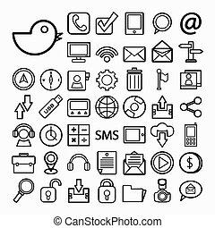 comunicación, y, transportaion, icono, conjunto