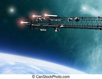 comunicaciones, estación, antena, espacio