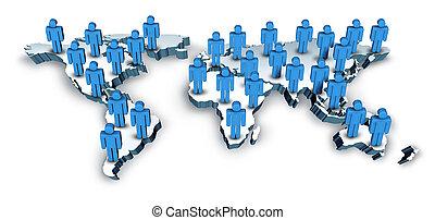 comunicaciones globales, con, un, mapa del mundo