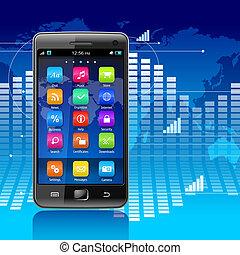 comunicaciones globales, y, movilidad, concepto