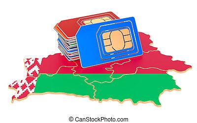 comunicaciones, interpretación, paseos, map., tarjetas, 3d, móvil, sim, belorussian, concept., belarus