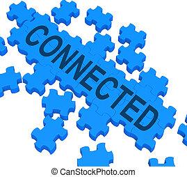 comunicaciones, rompecabezas, global, conectado, actuación