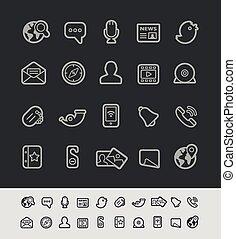 comunicaciones, social, iconos
