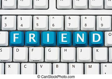 comunicar, com, amigos, ligado, internet