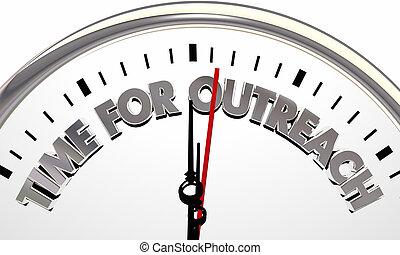 comunicarse, reloj, tiempo, alcance, ilustración, tenerun alcance mayor que, afuera, 3d