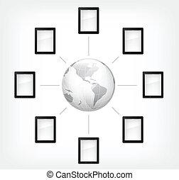 comunication, concept., computadora personal tableta