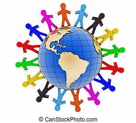 comunicazione, concept., globale, associazione, mondo