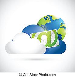 comunicazione, contattarci, nuvola, calcolare