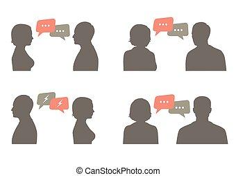 comunicazione, coppia, bolla discorso, dialogo
