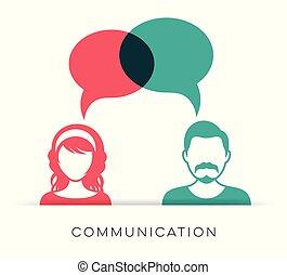 comunicazione, donna, uomo, icona