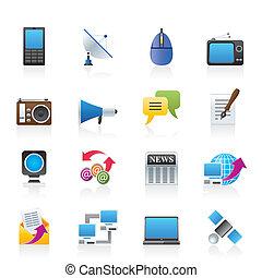 comunicazione, e, icone tecnologia