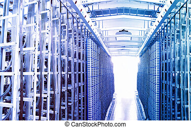 comunicazione, e, internet, server rete, stanza