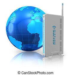 comunicazione fili, e, internet, concetto