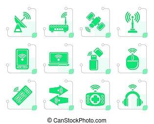 comunicazione fili, stilizzato, icone tecnologia