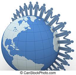 comunicazione, globale, 3d, persone
